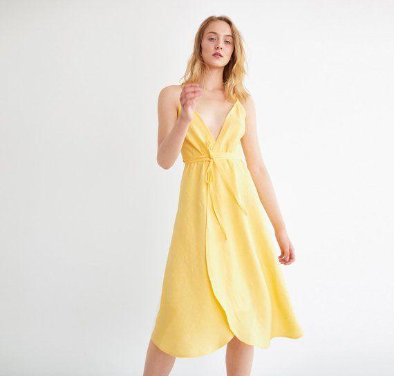 f1ffe2a02066 AUDREY Linen Wrap Dress   Sleeveless Summer Midi Dress For Women ...