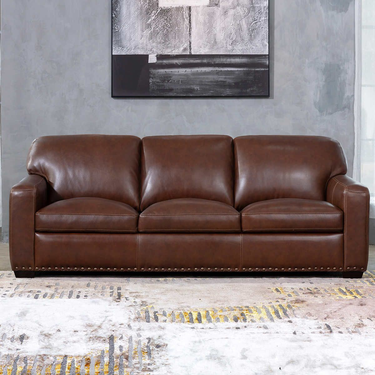 Winslow Brown Leather Sofa in 2020 Brown leather sofa