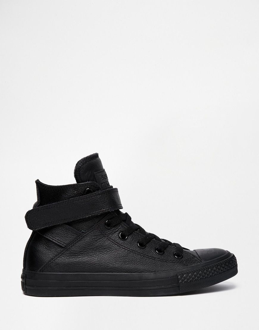 Image 1 of Converse Black Leather Chuck Taylor All Star High Top Trainers 37ad181daa