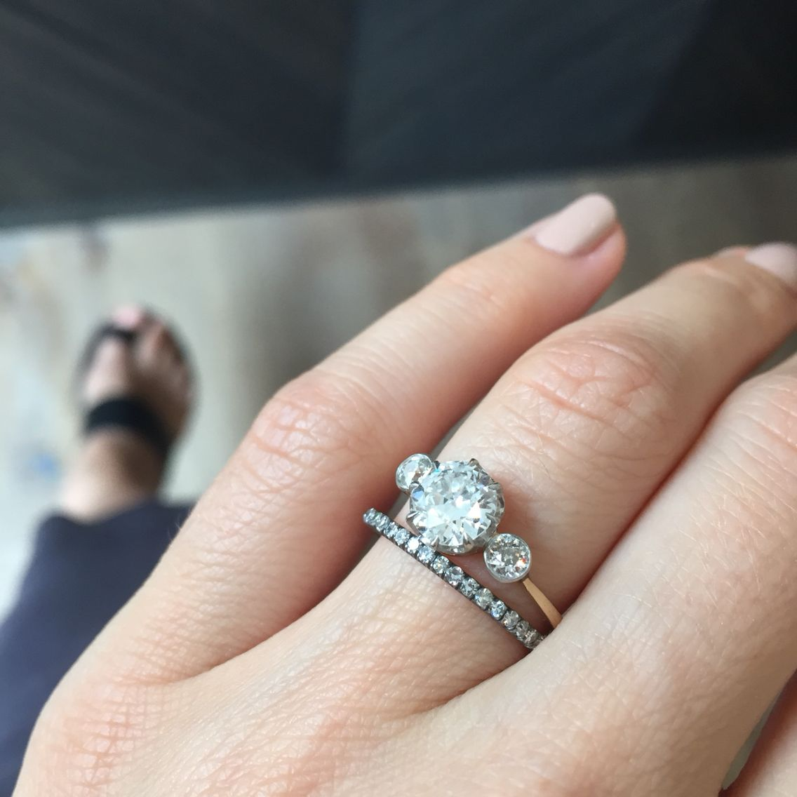 Vintage Three Stone Edwardian Engagement Ring Paired With Our Zephyr Wedding Band