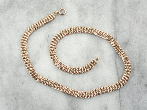 Antique Rose Gold Chain Woven Collar Necklace rose gold