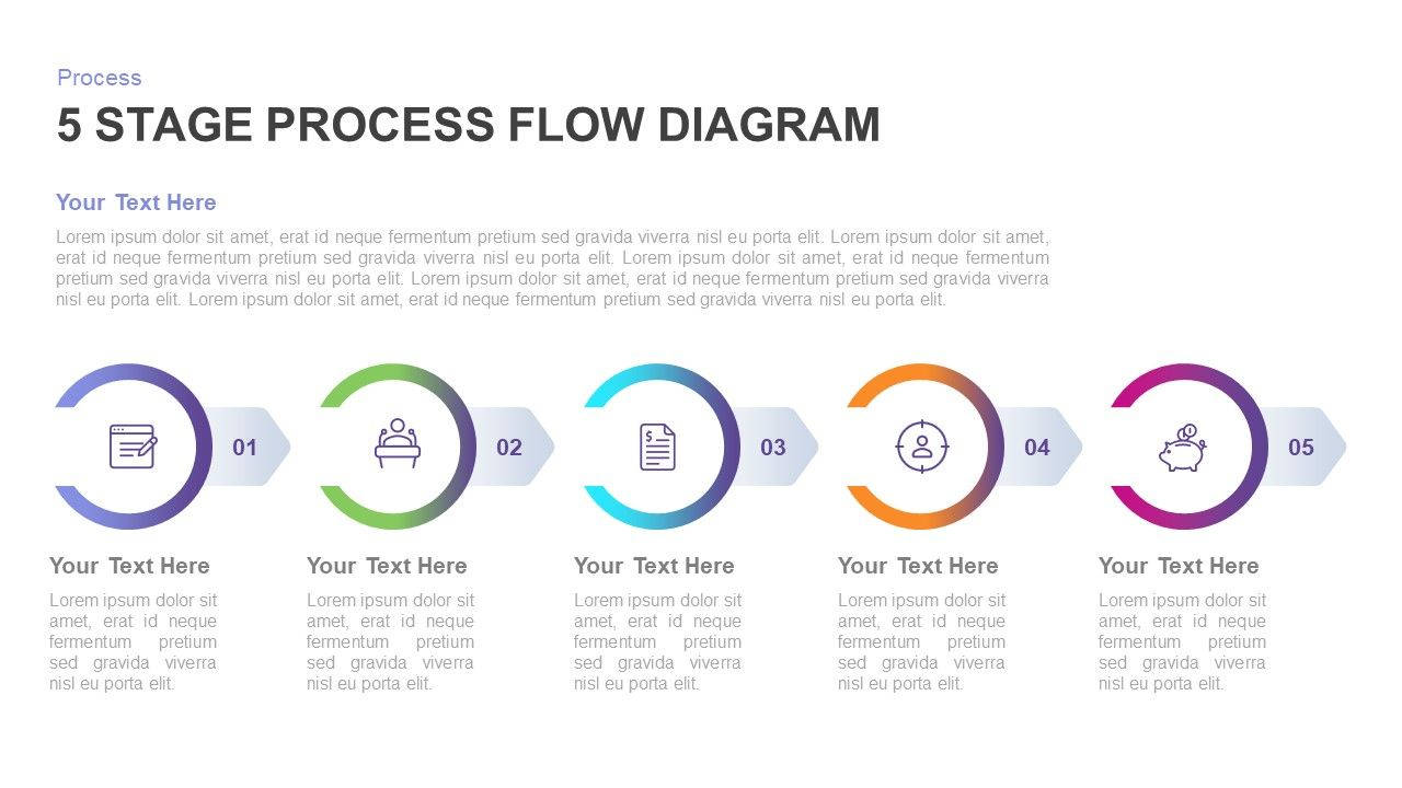 5 stage process flow diagram template for powerpoint amp keynote the flat timeline 5 stage [ 1280 x 720 Pixel ]