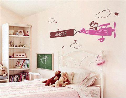 Plane & Girl Pattern PVC Home Wall Decal Sticker 105 x 50cm  $29.99