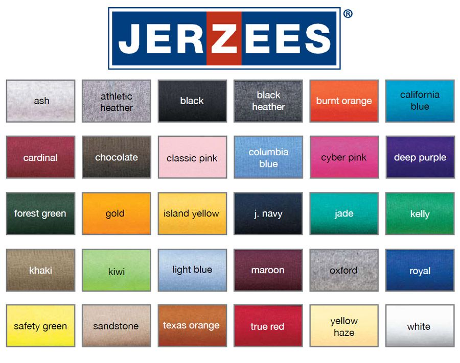 Hanes Color T Chart Beefy