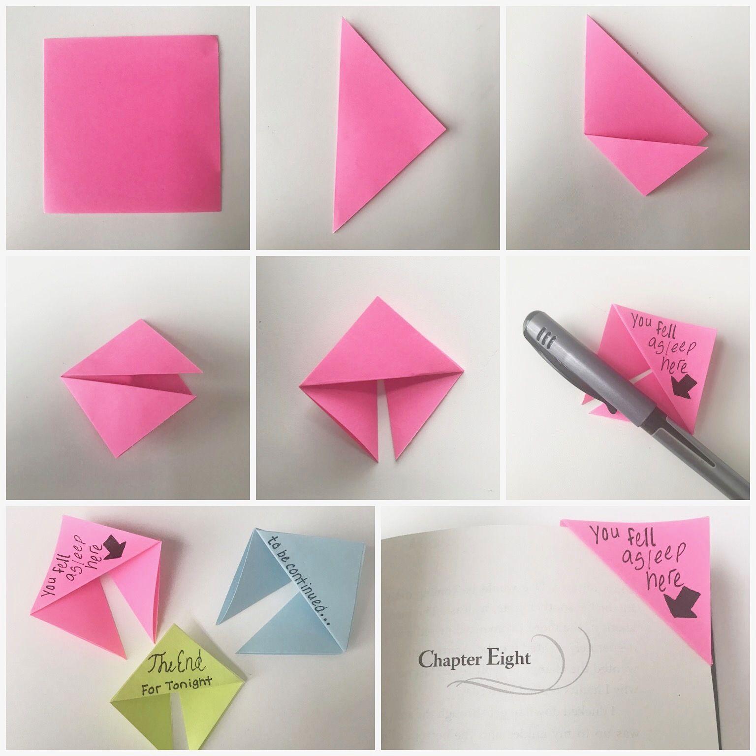 Diy Corner Bookmarks Book Origami Sticky Note Crafts Diy Bookmarks