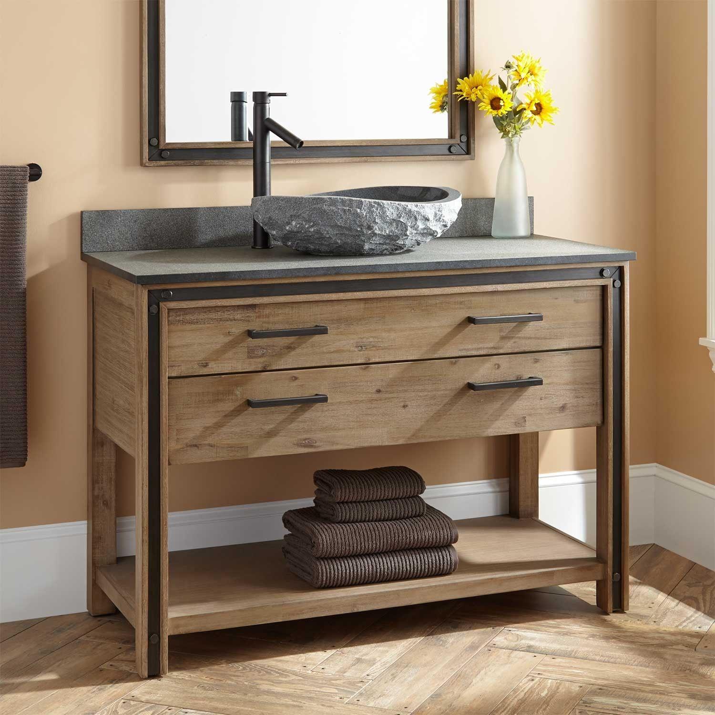 48 Celebration Vessel Sink Vanity Rustic Acacia In A Bathroom