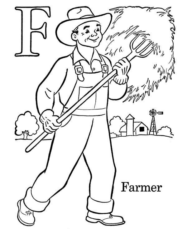 Alphabet Letter F Is For Farmer Coloring Page Bulk Color You Are