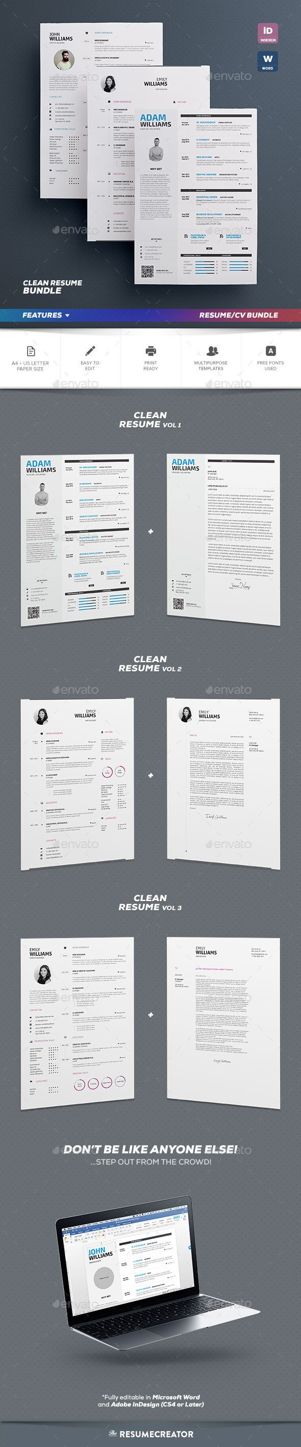 Clean Resume Bundle Resume Cv And Cv