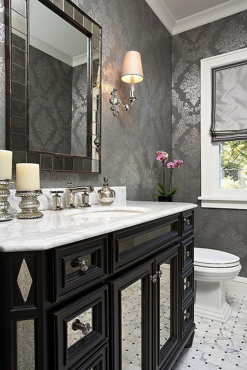 20 Gorgeous Black Vanity Ideas For A Stylishly Unique Bathroom Powder Room Design Bathroom Decor Bathroom Design