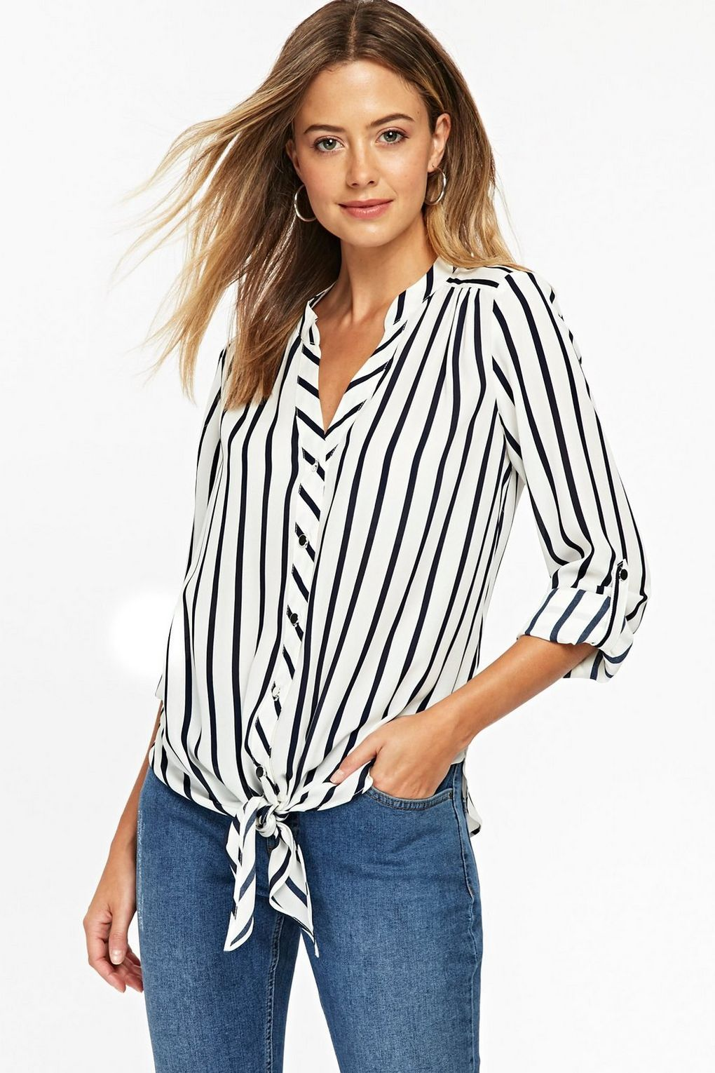 24833751605e1 Keep it casual in a striped tie-front shirt | Wallis Petite Monochrome Tie  Front Top | #WallisFashion #WallisLoves #Monochrome #PetiteFashion #Stripes