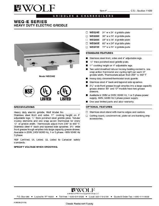 Wolf WEG36E - 36-Inch Heavy Duty Electric Griddle