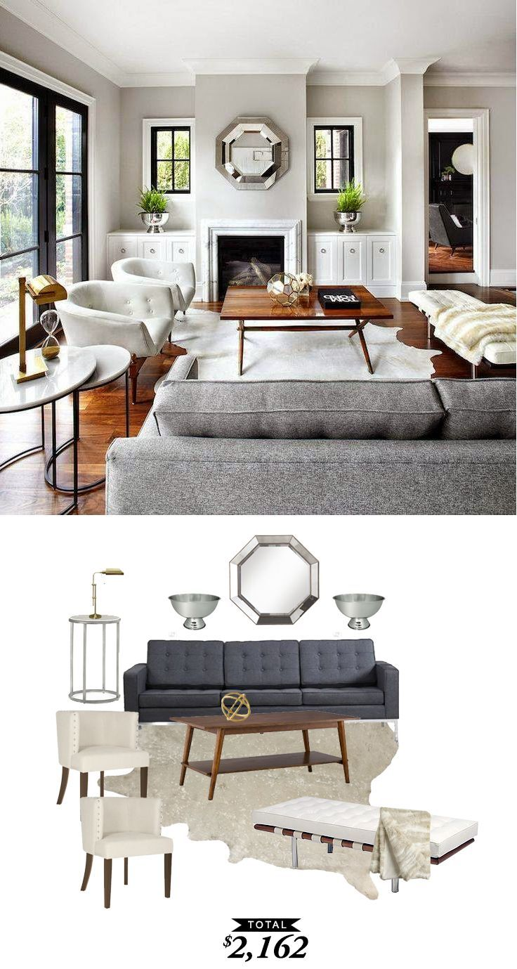 A bright and contemporary gray living room by The Design Co. recreated for $2,162 by Audrey Dyer for Copy Cat Chic #allwhiteroom
