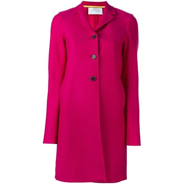 Harris Wharf London Three Buttons Coat (27.695 RUB) ❤ liked on Polyvore featuring outerwear, coats and pink coat