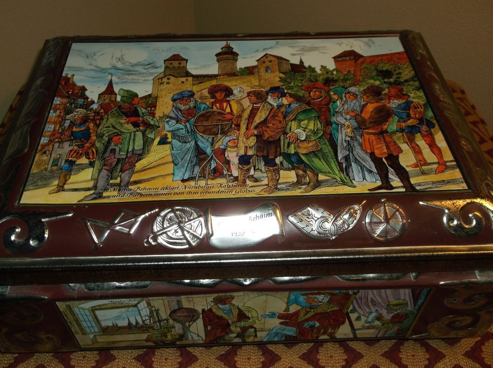 Inspirational Nurnberg Early us Large German Cookie Tin w Two Pictures by E OTTO Schmidt