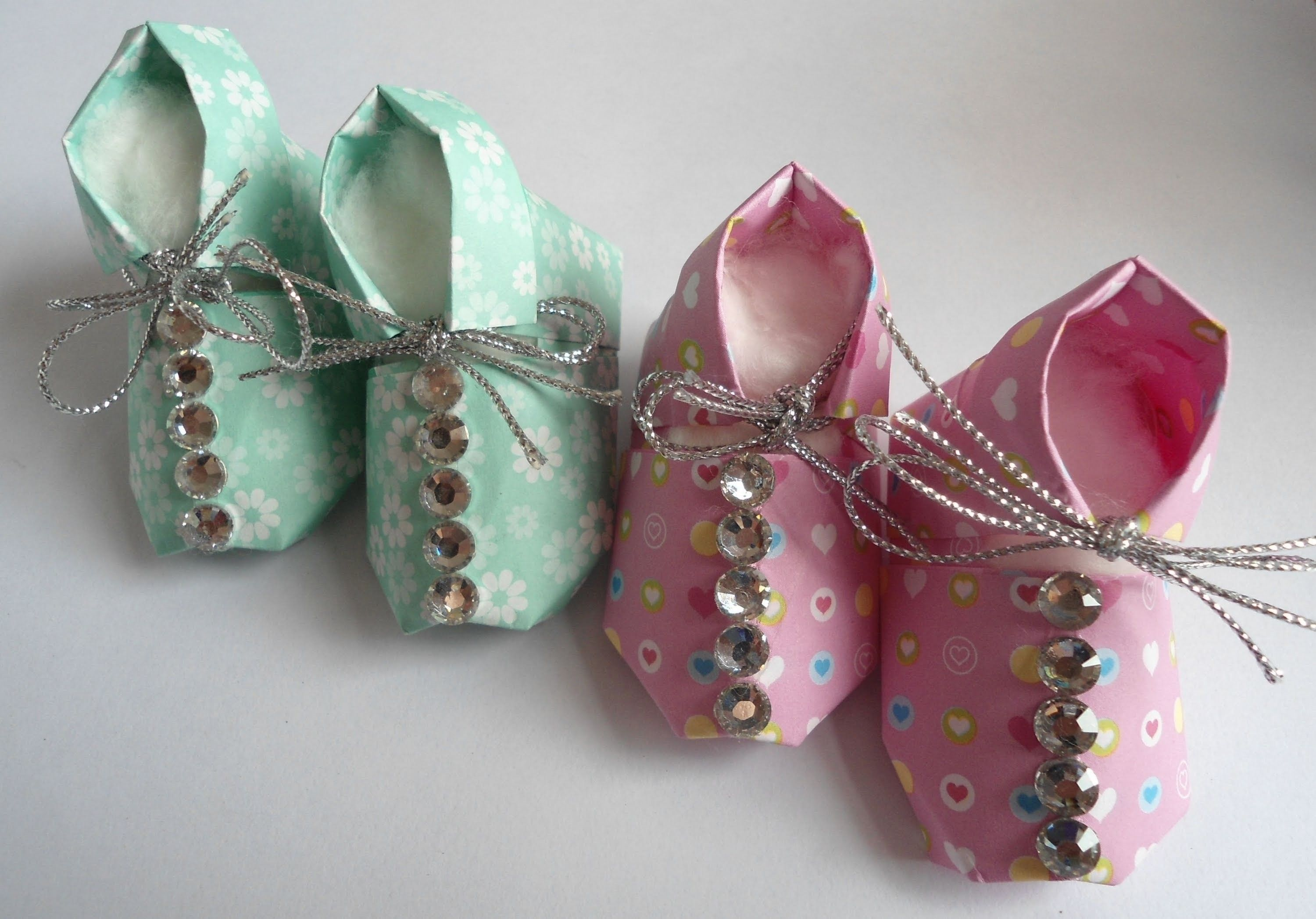 Origami Slipper Paper Shoes Sneakers Baby Shower Gift Idea