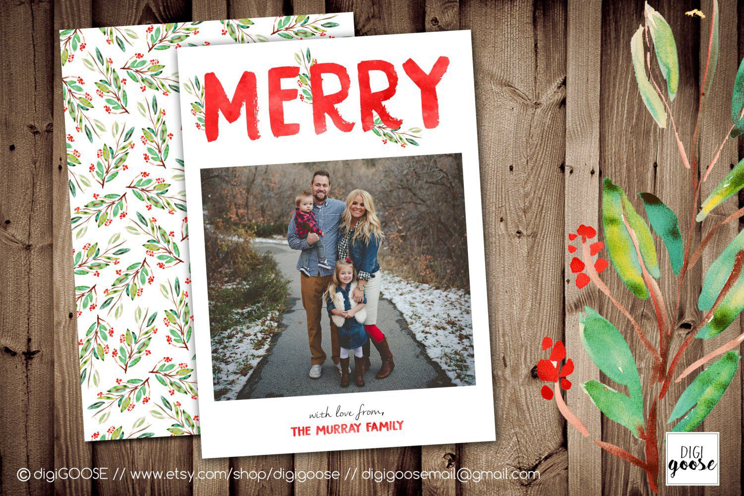 MERRY Watercolor // Christmas Card Template