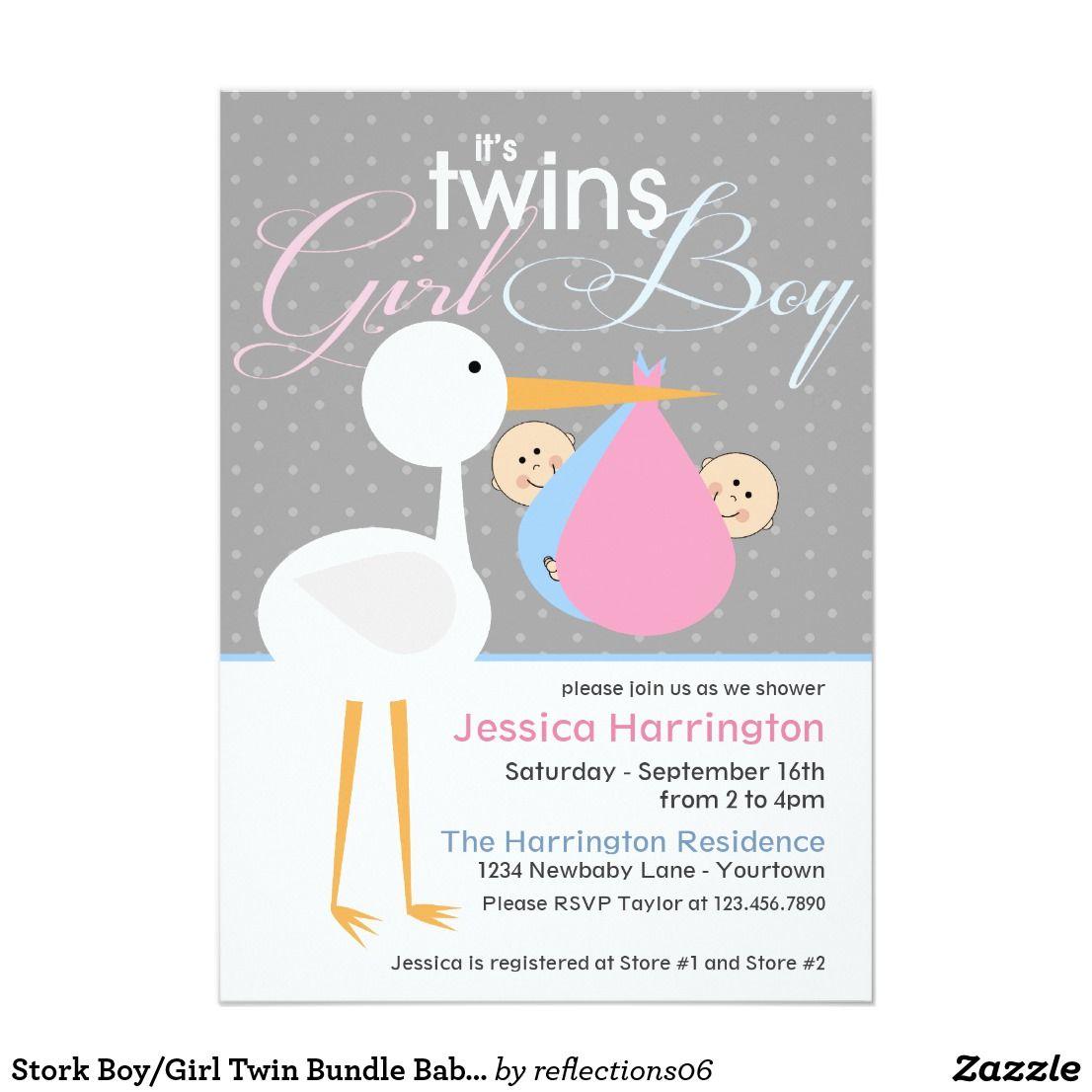 Stork Boy/Girl Twin Bundle Baby Shower Invitations | Boy girl twins ...