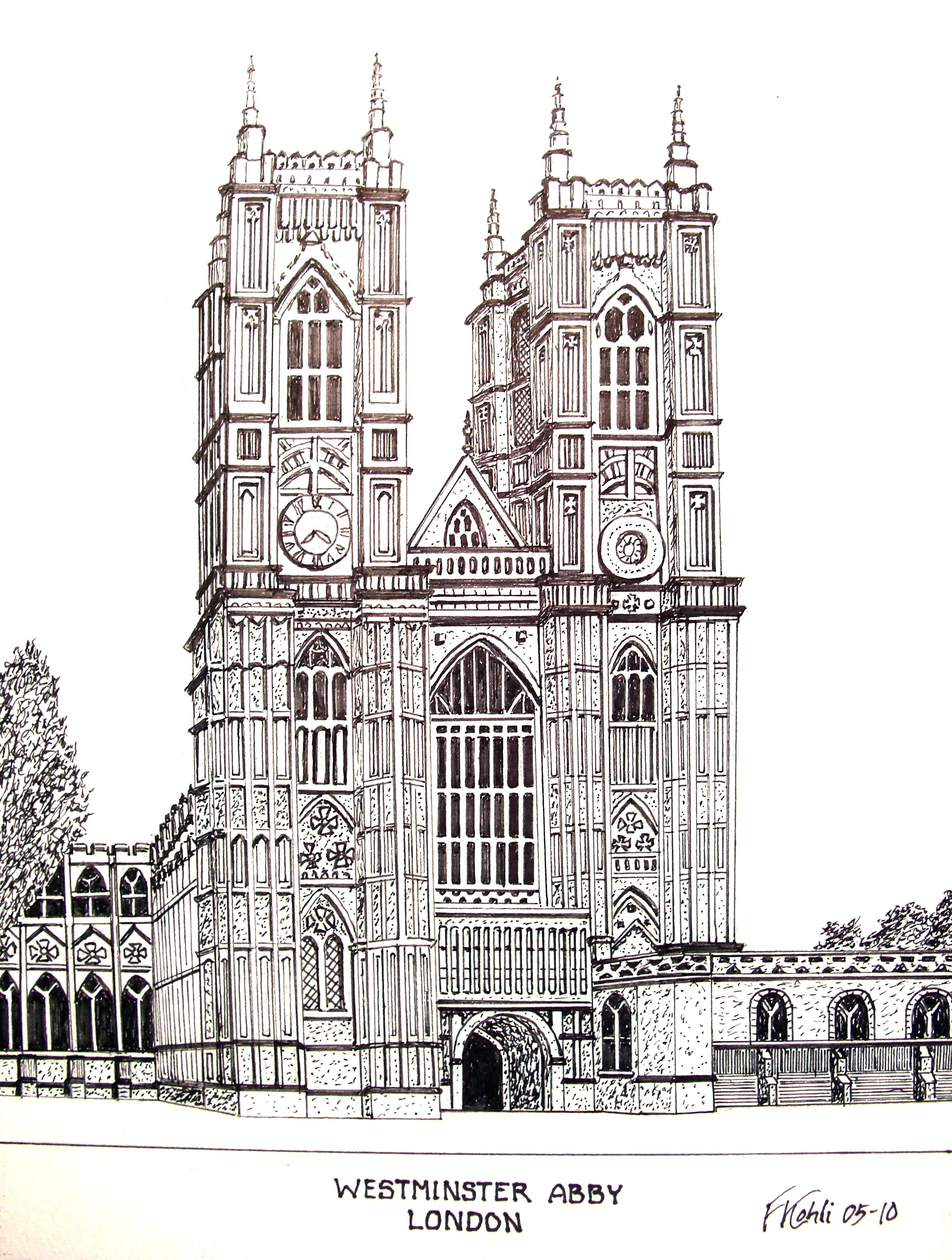 Westminster abby pen and ink drawing by frederic kohli for Architectural plans of famous buildings