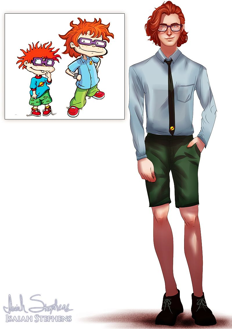 Chuckie from Rugrats all grown up.