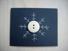 Items similar to 5 Snowflake Christmas Cards Set: 5 Cards, Mini Christmas Cards, Blank, Button Snowflakes, Holiday, Gift Tags - Set of 5 on Etsy #christmascards