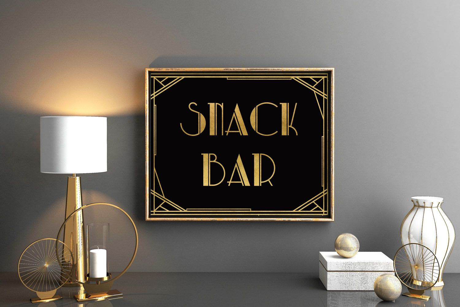 Great Gatsby party sign Snack bar art deco decor sign Roaring ...