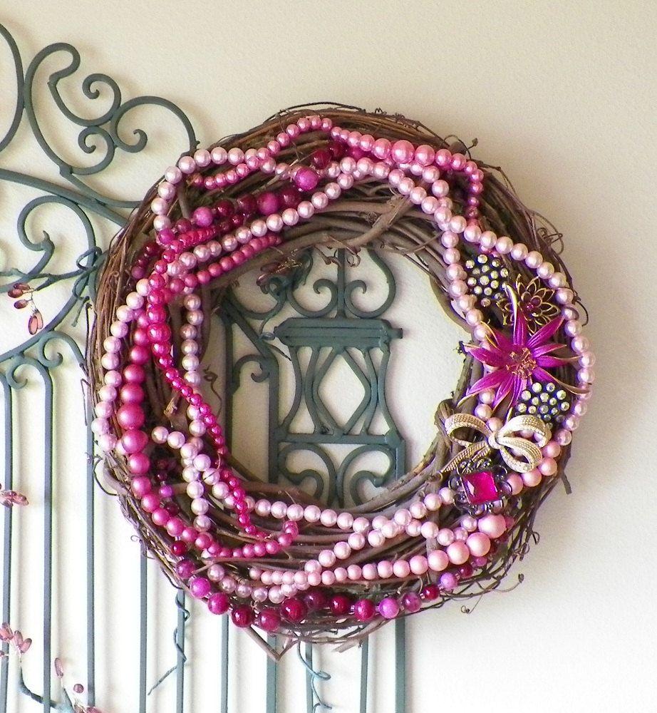 Shabby Rose Pinks Vintage Jewelry Embellished Wreath. $42.00, via Etsy.