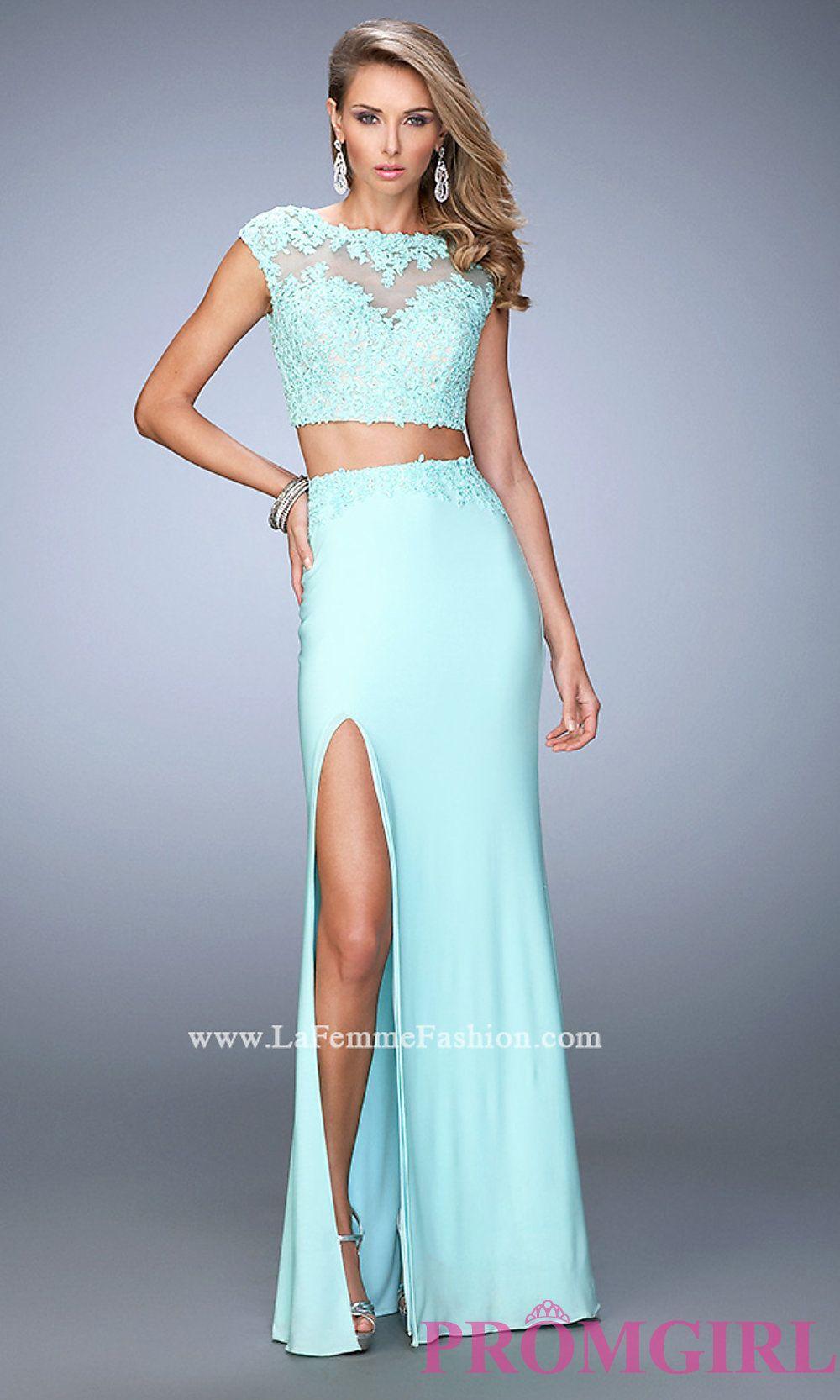 Two Piece Open Back Prom Dress by La Femme Style: LF-21867 | Prom ...
