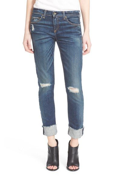 Free shipping and returns on rag & bone/JEAN 'The Dre' Slim Fit Boyfriend Jeans (Mabel) at Nordstrom.com. Shredded details and roll-ready cutoff hems lend ultra-cool character to boyfriend jeans cut in a slim silhouette for a flattering relaxed look.