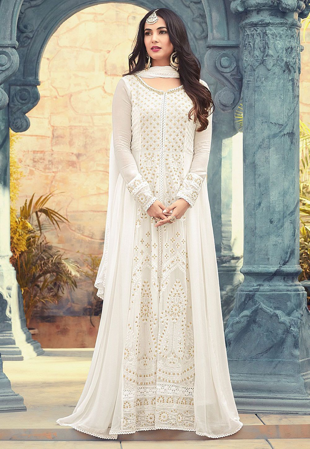 de88ace7c831 Buy online Embroidered Georgette Abaya Style Suit in Off White now
