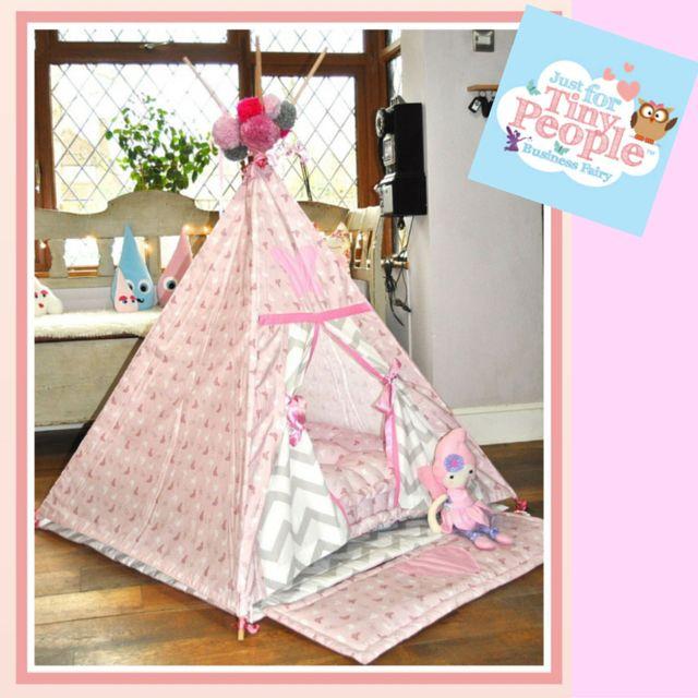 Beautiful handmade pink fairy chevron children's teepee.   JFTP Business Fairy Emily Wells @JFTPEmily Wells   #handmade #tiny people #business fairy #fairy #boys #girls #gifts #birthday #beautiful #shopping #shabbychic #smallbiz #handmadeloves #design #canopy #teepee #den