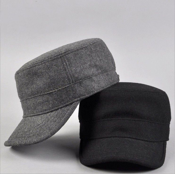 Men Women Winter Wool Felt Military Hat Cap Fashion Army Style Cadet Hats  Caps  Unbranded  CadetMilitary a1058f88431a