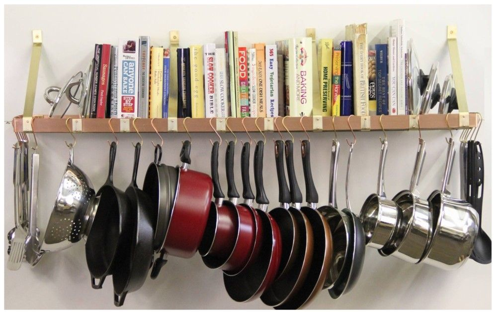 Efficient Modern Interior Design With Wall Mount Pot Rack
