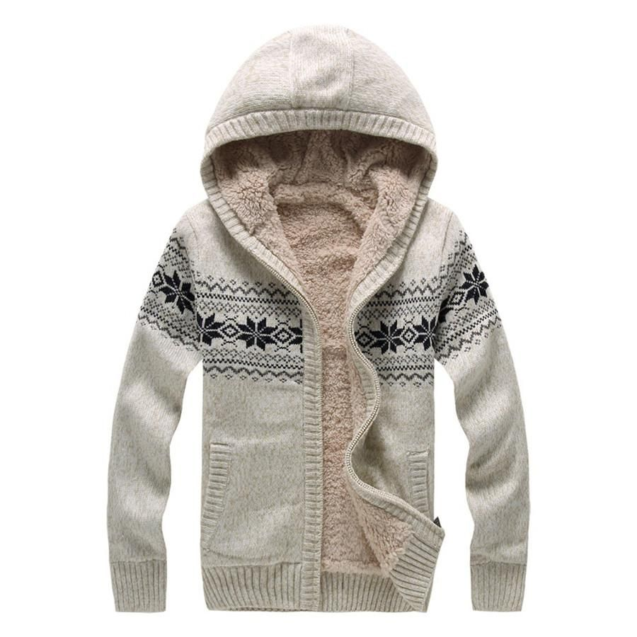 Fashion Men Sweaters Hooded Cardigan Plus Size Relaxed Thick ...
