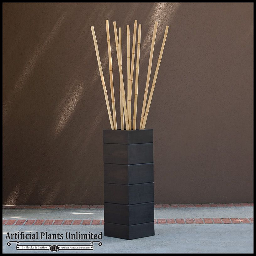 Attractive Decorative Bamboo Canes in a Wood-Grain Planter | Artificial  UI53