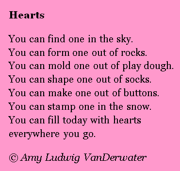 Where can YOU find hearts? A list poem. The Poem Farm: Hearts - A ...