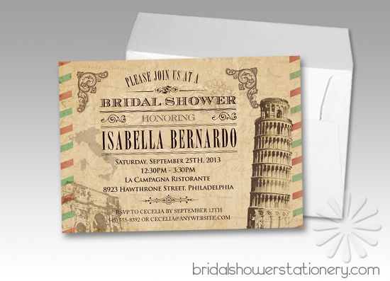 Tuscan Themed Wedding Invitations: LOVE These Vintage Italian Bridal Shower Invitations