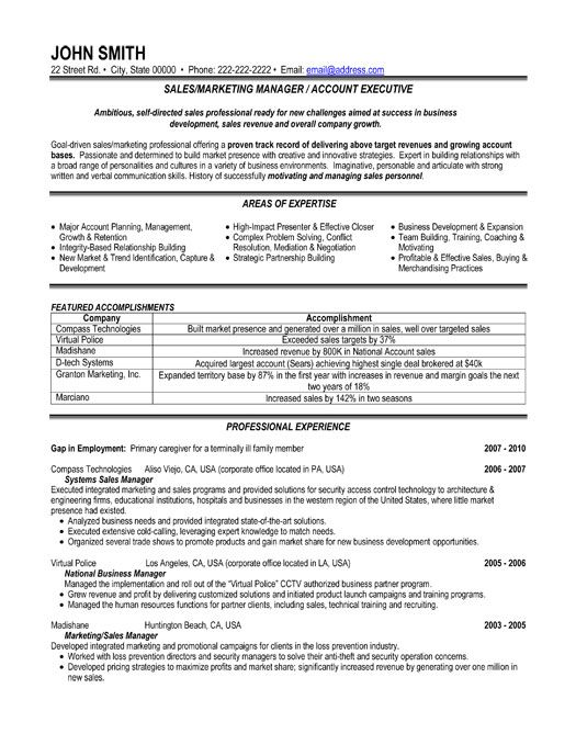 Sales And Marketing Sample Resumes | Template
