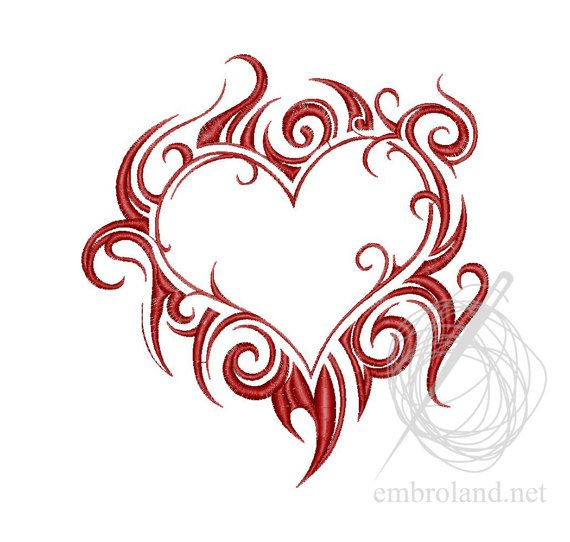 Fiery heart Machine Embroidery Design Instant Download