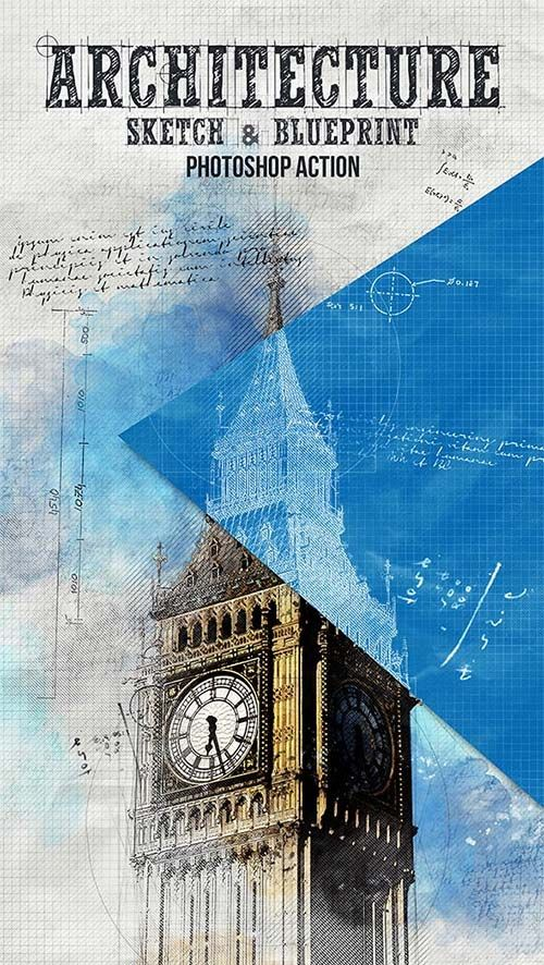 Graphicriver architecture sketch and blueprint photoshop action graphicriver architecture sketch and blueprint photoshop action malvernweather Gallery