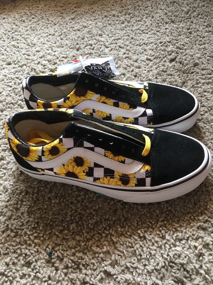 Womens size 5.5 Vans custom sunflower shoes #fashion