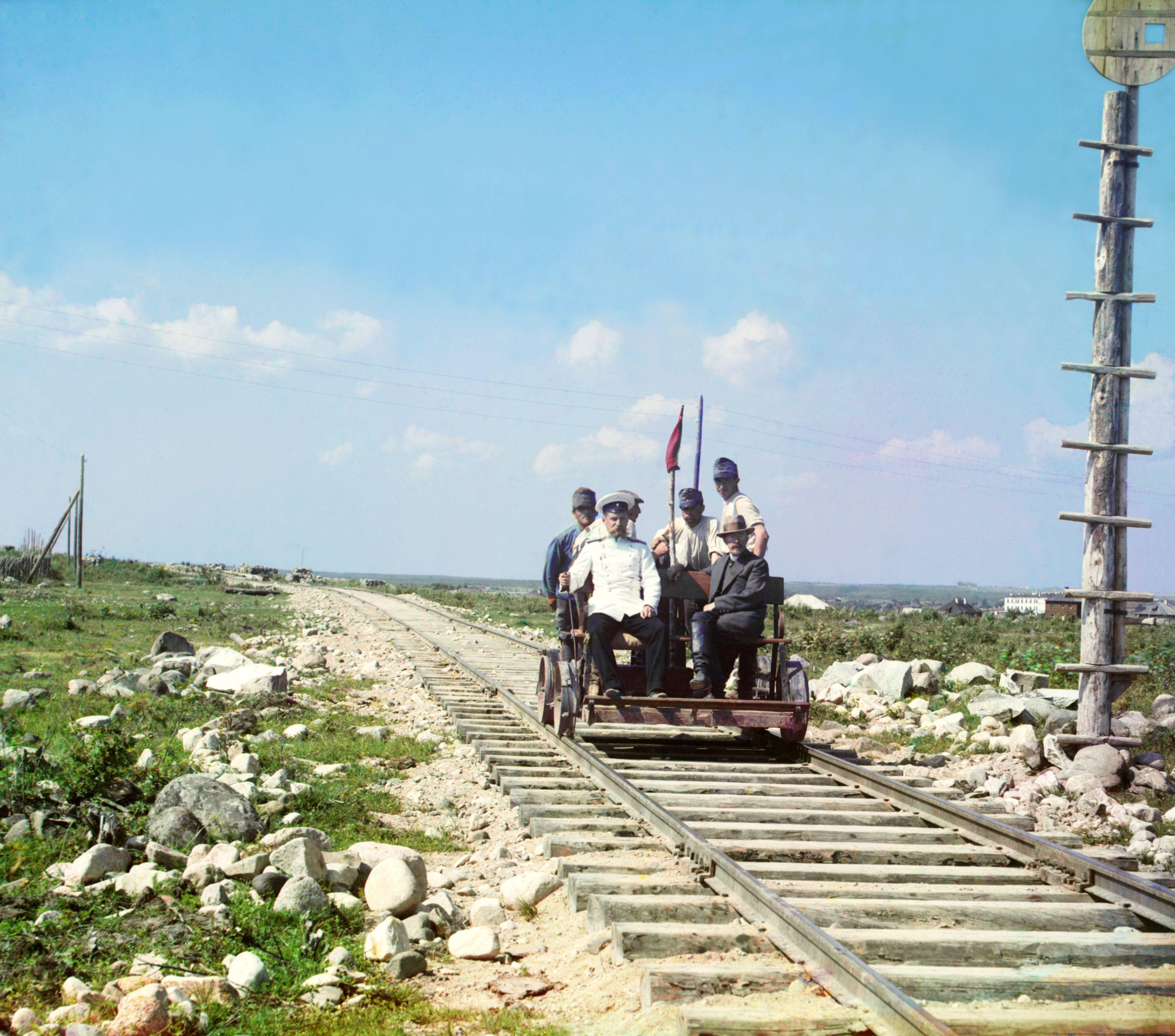 (1915) On the handcar outside Petrozavodsk on the Murmansk railway.