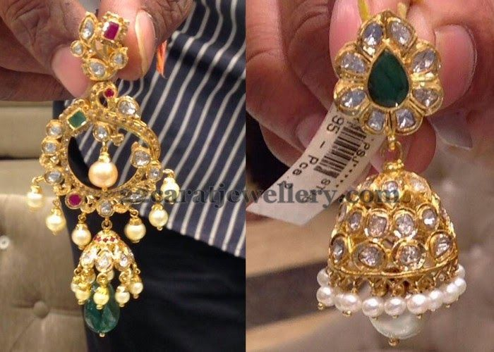89892393e2519 Pachi Work Chandbali and Jhumka   Traditional Gold Jhumkas ...