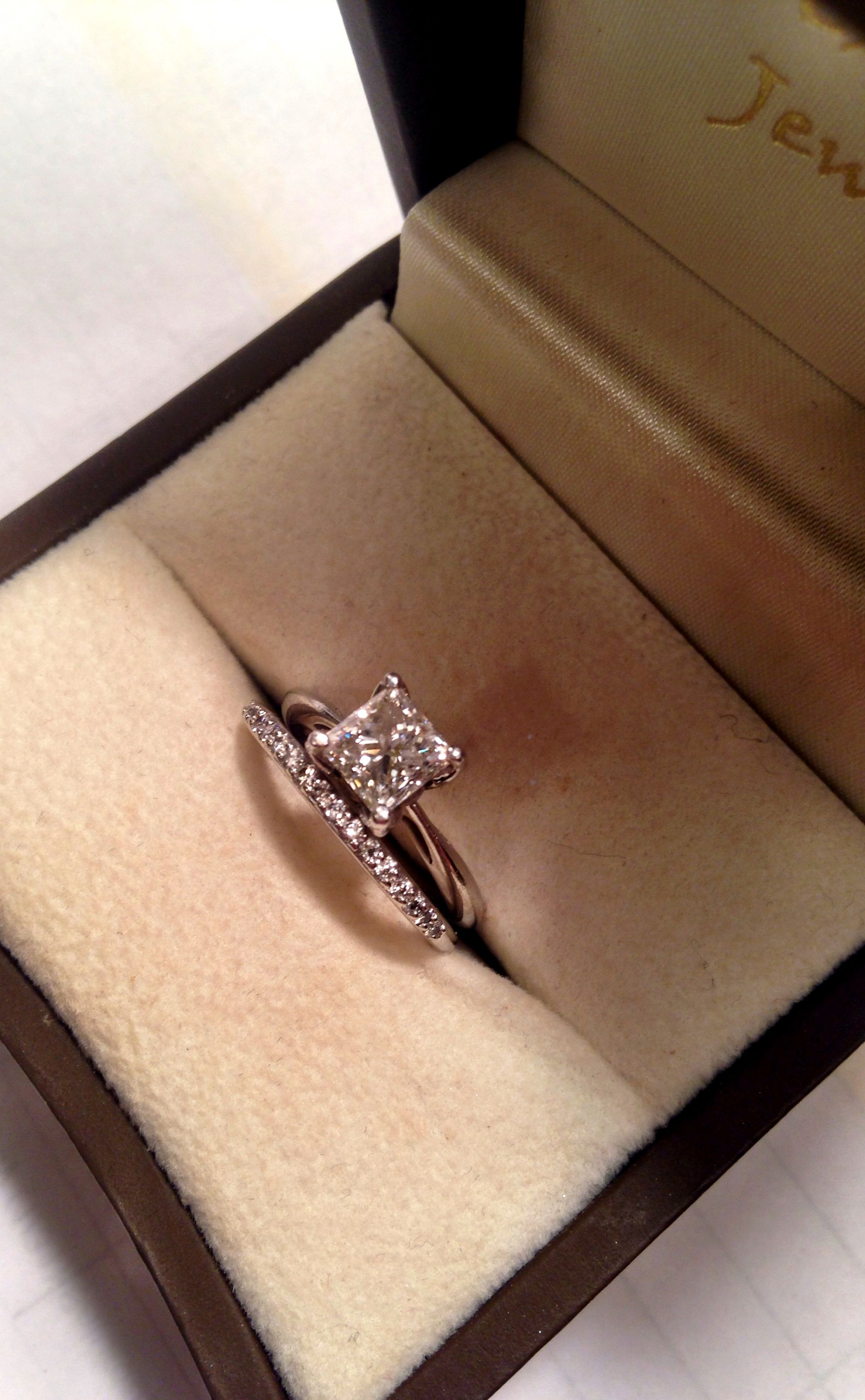 Solitaire engagement ring princess cut diamond wedding band
