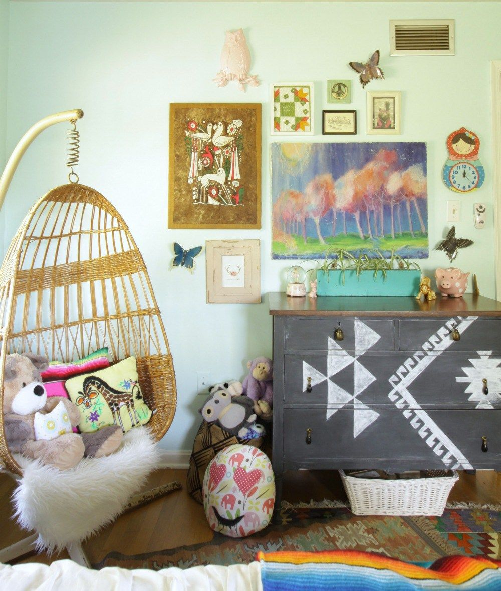 Mexican Boho Girls Bedroom With A Hanging Chair Kilim Dresser