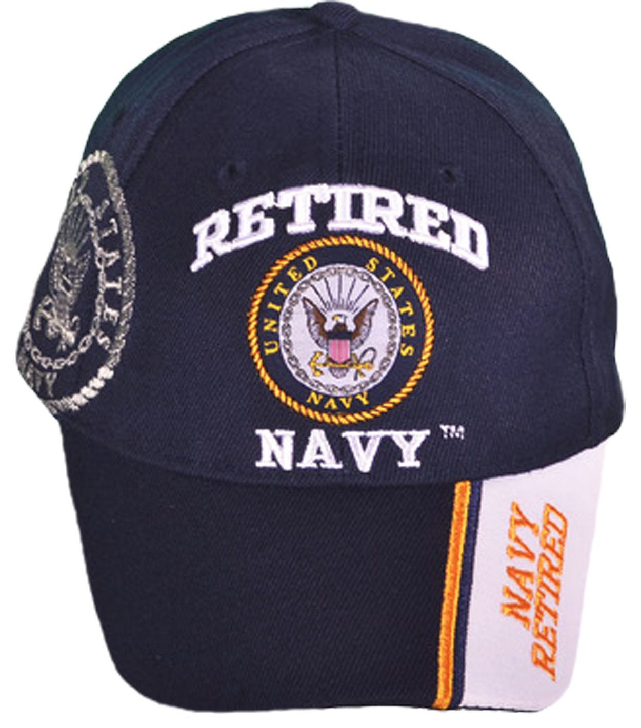 7c4d19156a4 US Retired Navy Hat Blue and White Baseball Cap Military Logo ...