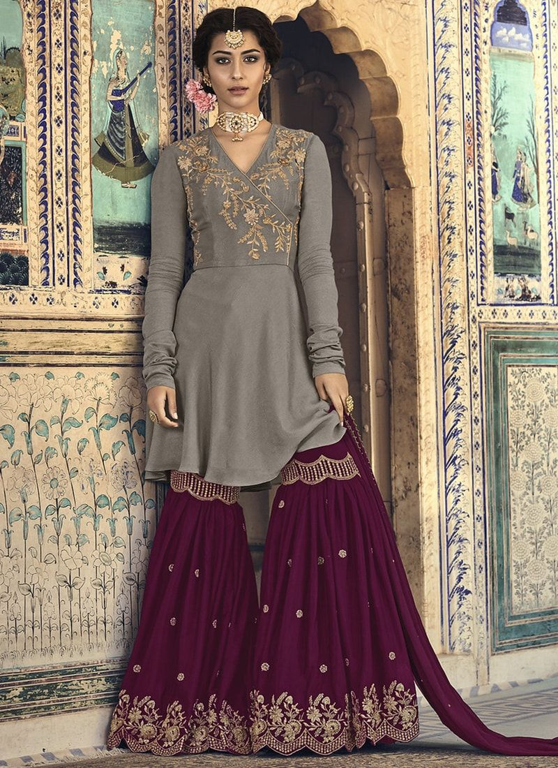 2163ab4ce6 Georgette Beige And Magenta Wedding Sharara Suit | Salwar Suits in ...