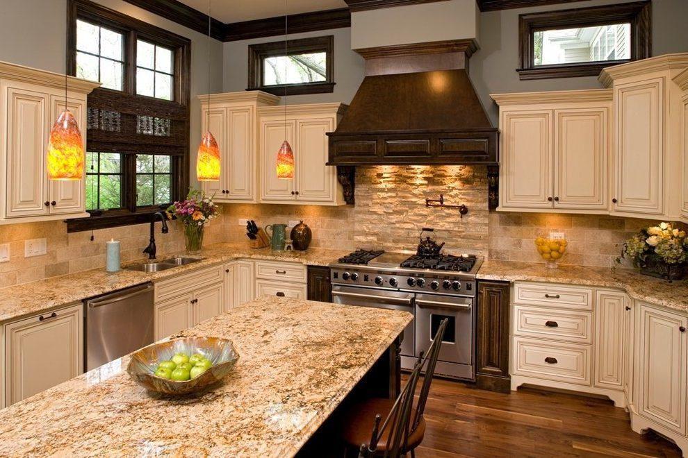 Kitchen Backsplash Ideas with Santa Cecilia Granite in