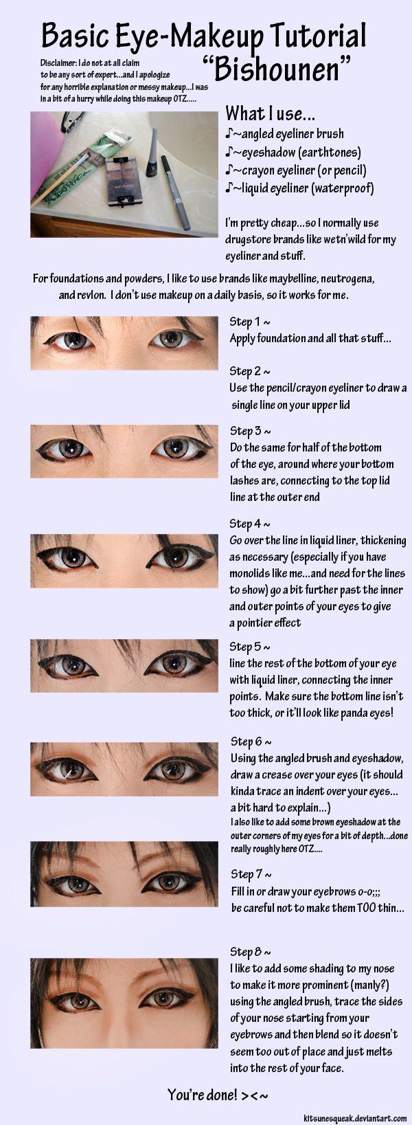 Pretty Boy Eye Makeup Tutorial Cosplay makeup tutorial