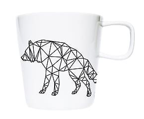 Mug de porcelana Origami III - blanco y negro