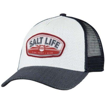 2fae04796f8 Salt Life Men s Sea It All Straw Trucker Mesh Cap (White One Size ...
